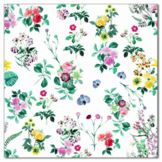 Floral pattern wall tile, colourful flowers on a white background, Product Code Q1