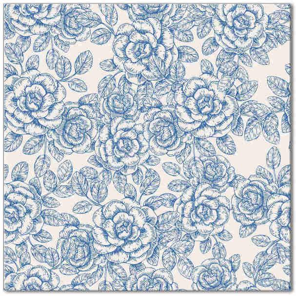 Light Blue And White Roses Ceramic Wall Tile