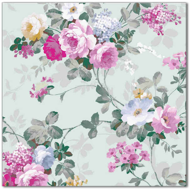 Wall tile with floral pattern, pink roses on pale green background, Product Code Q9
