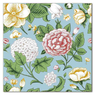 Floral Wall tile, vintage style shabby chic flowers on a blue background, Product Code Q4