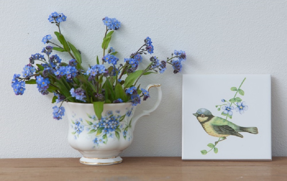 Blue Bird Ceramic Wall Tile from FloralTiles.co.uk
