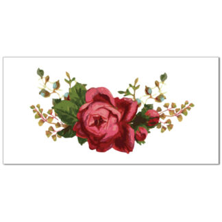 Dark pink rose on a white rectangular background, ceramic border wall tile
