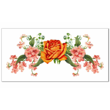 Orange rose with pink flowers on a white rectangle background ceramic border wall tile
