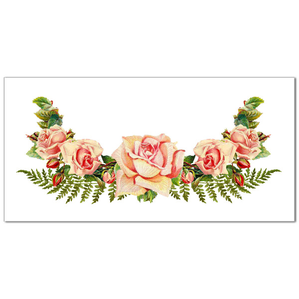 Vintage-style pale pink roses and ferns on a white rectangle background ceramic border wall tile