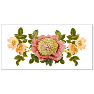 Pink floral Design on a white rectangular background, ceramic border wall tile