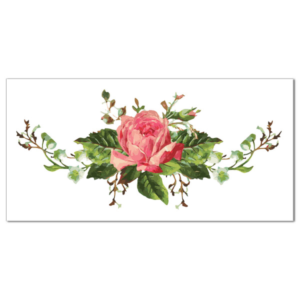 Pink shabby chic rose with green leaves on a rectangular white background, ceramic border wall tile