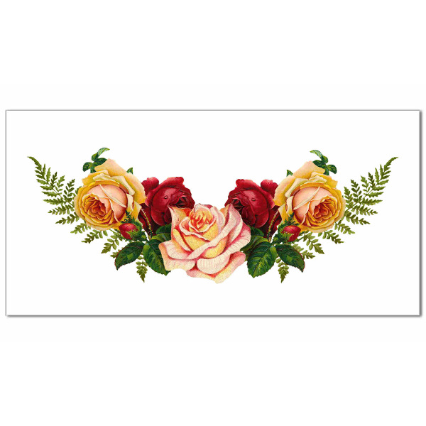 red, pink and yellow roses spray with green ferns on a white background, ceramic border wall tile
