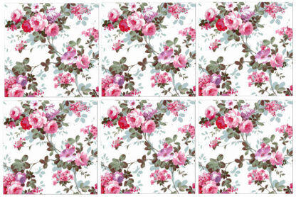 Shabby chic wall tiles, red and pink roses, pattern example, Product Code Q12