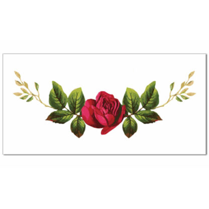 Single red rose with green leaves on a white background, ceramic border wall tile
