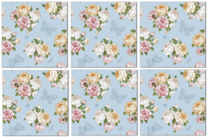Ceramic tiles with vintage-style roses and butterflies, duck-egg blue background - Product Code Q5 - Example of repeat pattern design