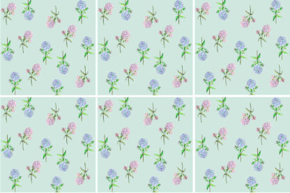 Hydrangea Tiles - Pink and Blue Hydrangeas on a green background, ceramic wall tiles pattern example