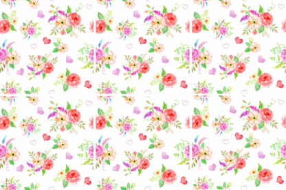 Romantic roses and hearts ceramic square wall tile pattern example