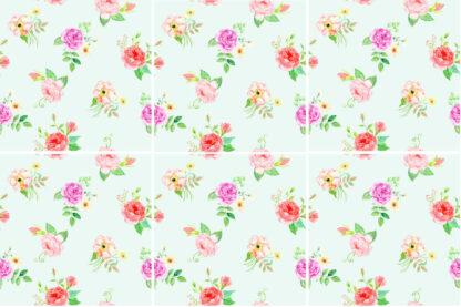 Pastel Roses Ceramic Wall Tile Pattern Example