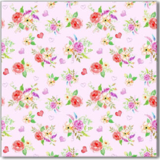 Romantic Ditsy Roses and Hearts Pattern Floral Ceramic Wall Tile