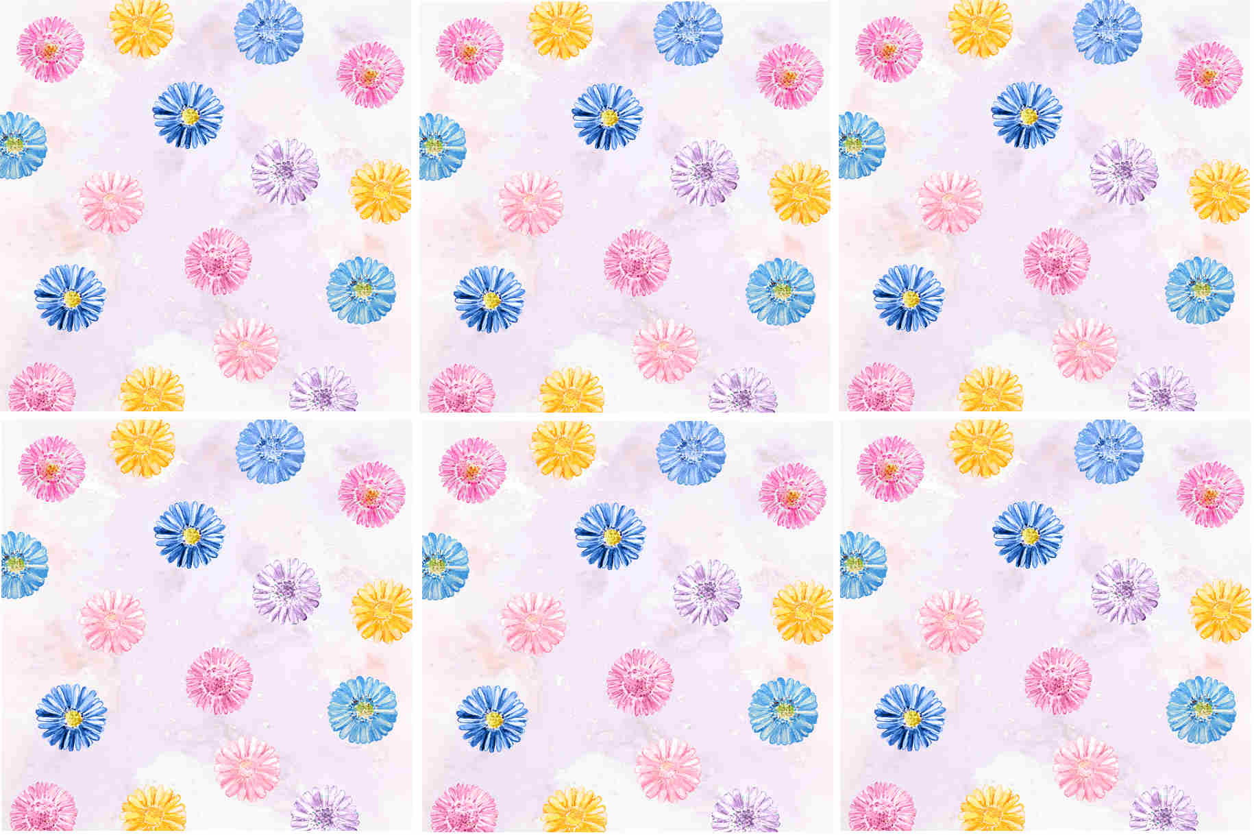 Pink Daisy pattern ceramic wall tile - design example