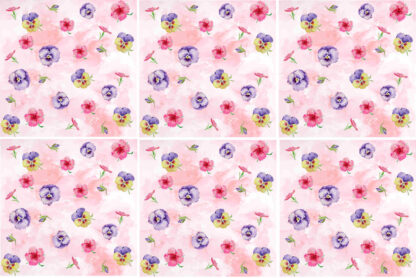 Pink Pansy Ceramic Wall Tile Pattern Example
