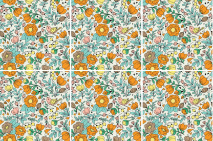 Retro floral pattern square ceramic wall tile