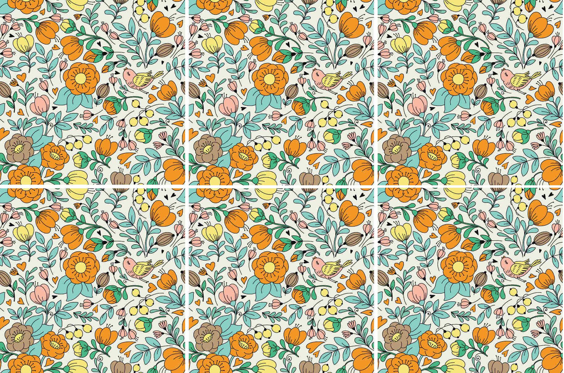 Retro floral pattern square ceramic wall tile