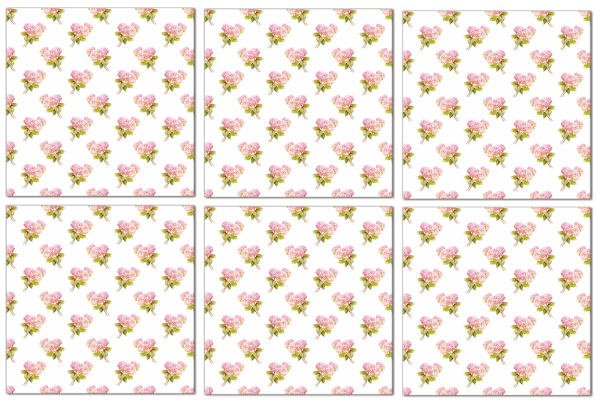 Hydrangea tiles, small pink hydrangeas on a white background, tile pattern example