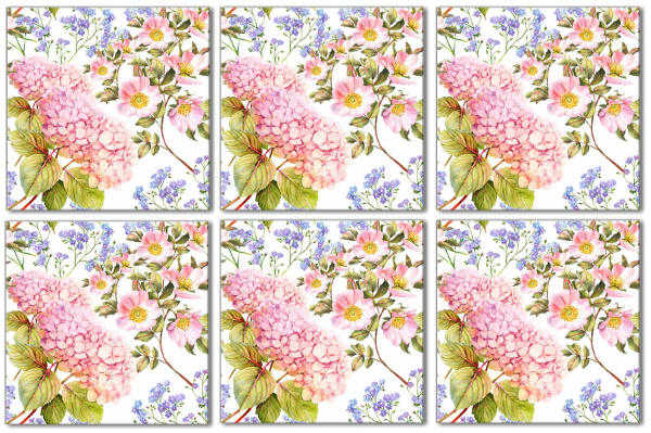 Hydrangea Tiles - Pink Hydrangea Patterned Tile - Pattern Example
