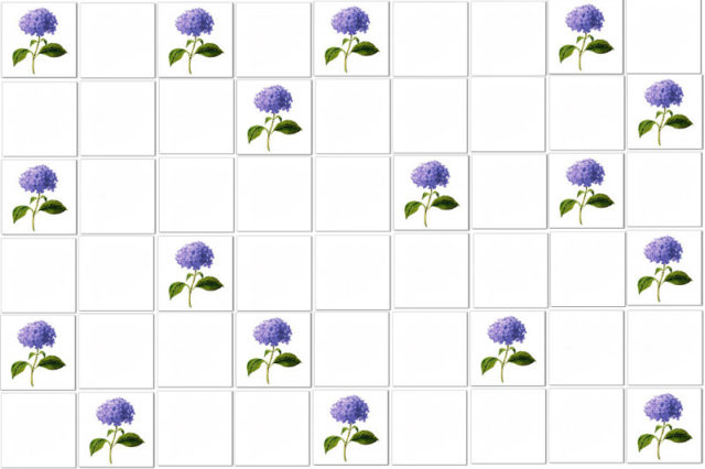 Hydrangea Tiles Pattern Example - Single blue Hydrangeas scattered among plain white ceramic wall tiles