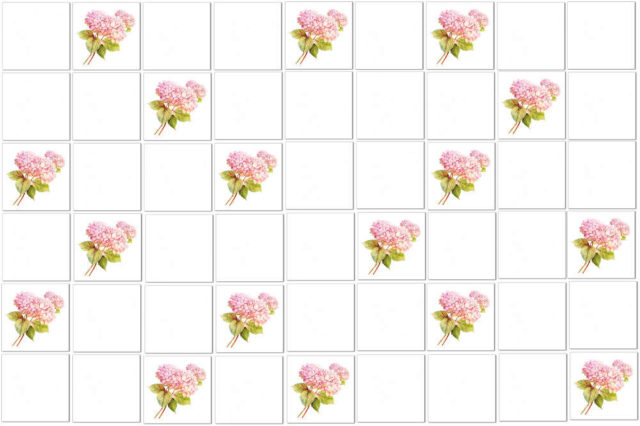 Single pink Hydrangea tiles scattered among plain white ceramic wall tiles - pattern example