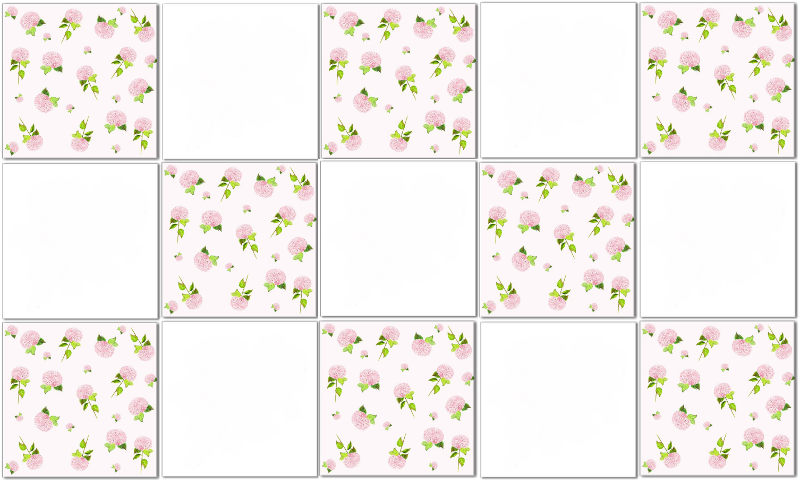 Hydrangea tiles - pink Hydrangeas and plain white ceramic wall tiles in a checked pattern