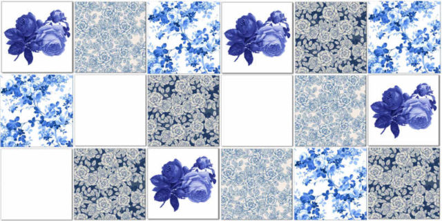 Splashback Tiles - Floral Tiles Pattern Design Idea in Blues