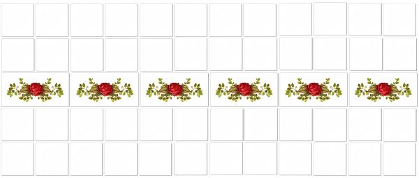 Rose Tiles Ideas - Red Rose Border Tiles Pattern Example