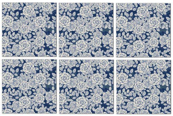 Splashback Tiles - Dark Blue Roses Pattern Example