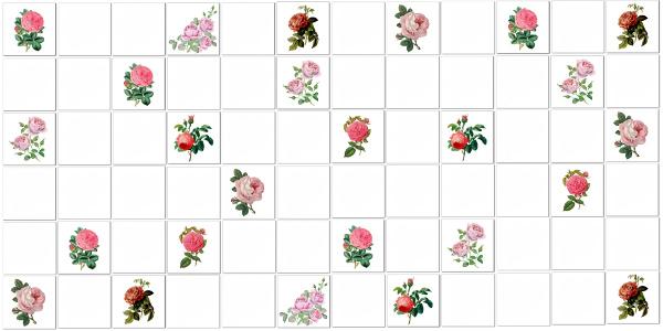 Roses Tiles Ideas - Single Rose Tiles Pattern Example