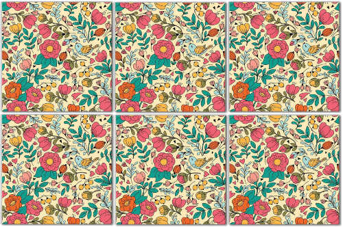 Splashback Tiles - Retro Floral Tile Pattern Example