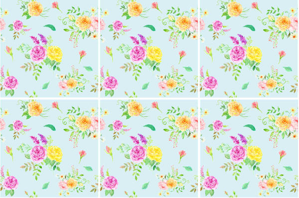 Splashback Tiles - Pink and Yellow Flowers on a Pale Blue Background