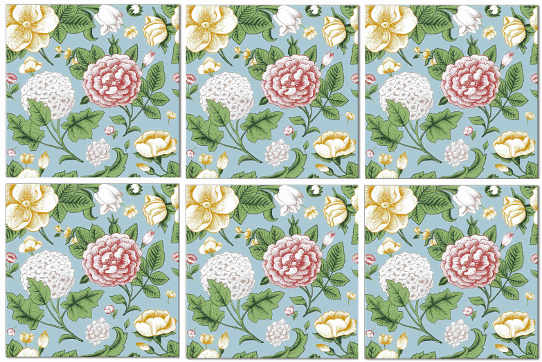 Splashback Tiles - Vintage Hydrangeas and Roses Tile Pattern Example