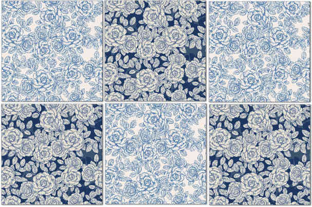 Rose Tiles Ideas - Blue and White Roses Check Wall Tiles Pattern Example