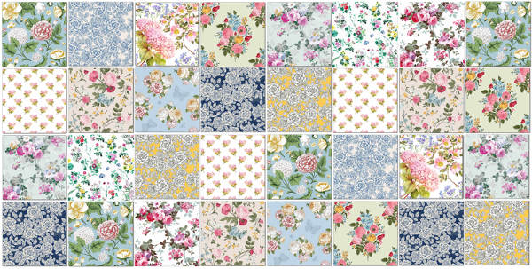 Vintage Tiles - an Eclectic Patchwork Pattern in Bold Floral Prints