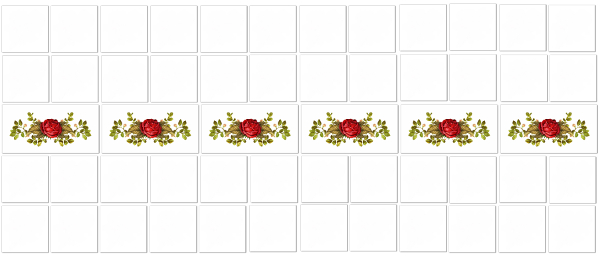 Vintage tiles - red rose border tiles