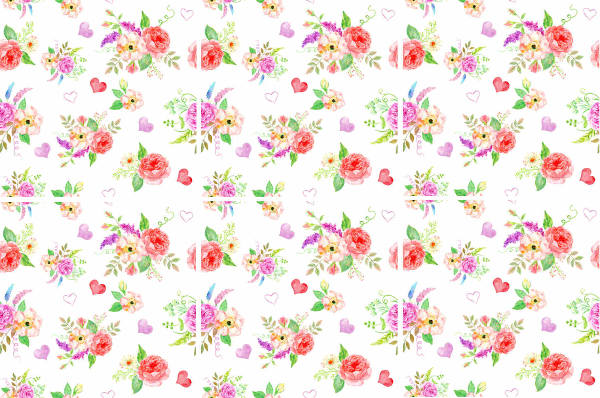 Shabby Chic Tiles - Romantic Pink and Red Roses Seamless Tile Pattern