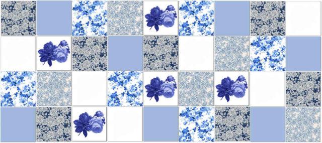 Rose Tiles Ideas - Blue Roses Patchwork Tile Pattern Example