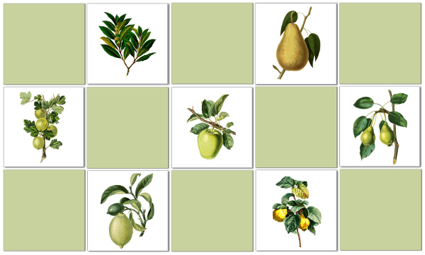 Vintage Tiles - Green Fruit Check Tile Pattern