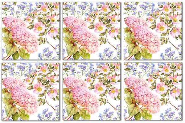 Shabby chic tiles hydrangea ceramic wall tile pattern for Shabby chic wall tiles