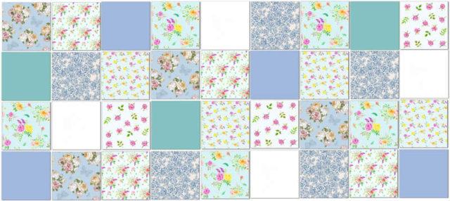 Rose Tiles Ideas - Pale Blue Roses Patchwork Tile Pattern Example
