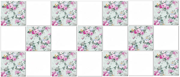 Vintage Tiles - Pale green roses check pattern