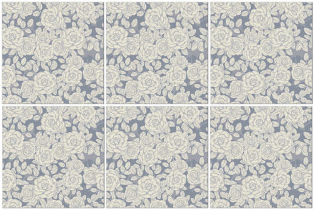 Rose tiles ideas - grey and white roses patterned ceramic wall tiles