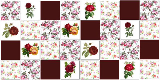 Rose Tiles Ideas - Red Roses Patchwork Tile Pattern Example