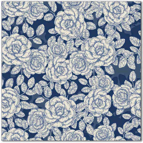 Blue Tiles - dark blue and white roses pattern ceramic wall tile