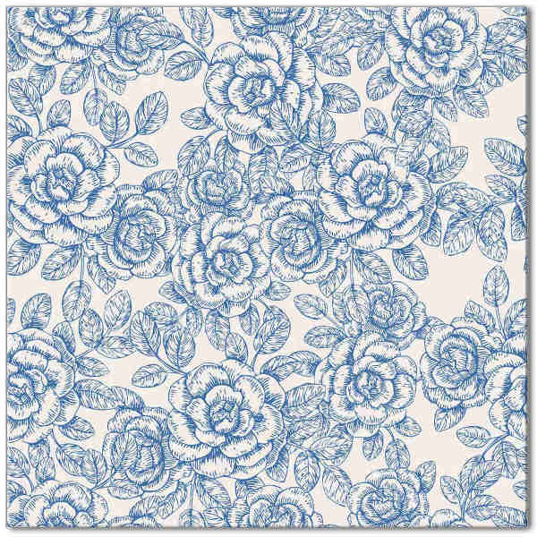 Blue tiles - light blue and white roses ceramic wall tile