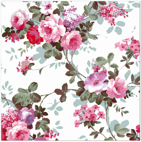 Pink Tiles - Shabby Chic Red and Pink Roses Patterned Tile