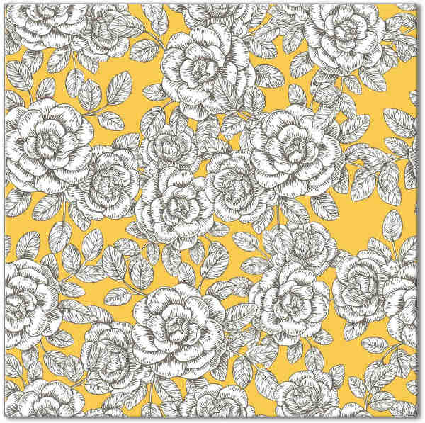 Yellow Tiles - Yellow Roses Pattern Ceramic Tile