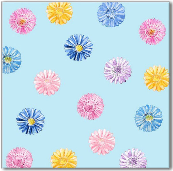 Blue Tiles - Blue Daisy Pattern Ceramic Wall Tile